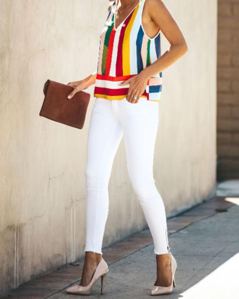 V-Neck Strap With Vertical Stripes Rainbow Vest