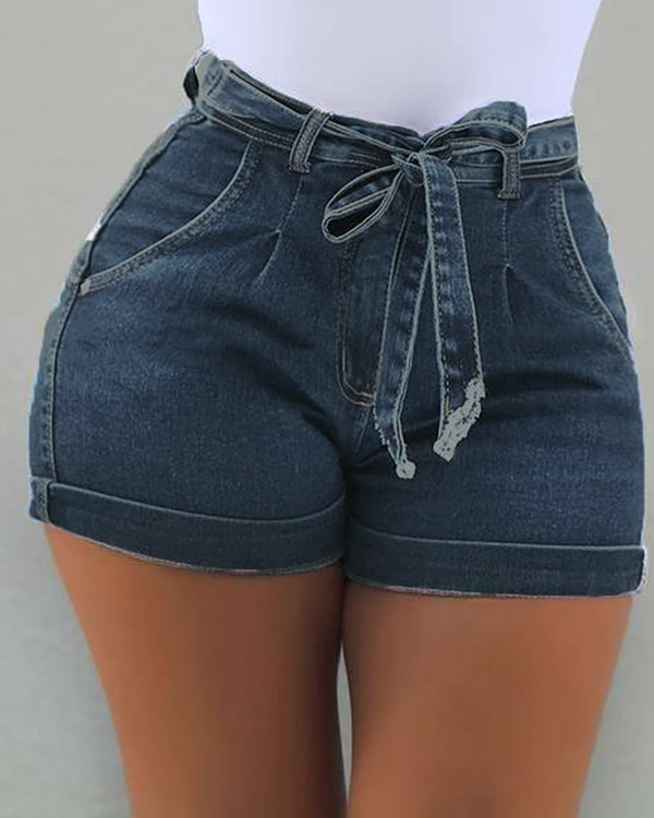 Solid High Waist Denim Casual Shorts