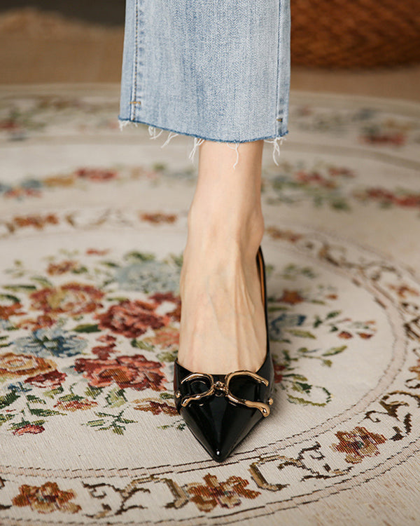 Metallic Buckle Upper Pointed-toe High Heel Low Cut Sandals