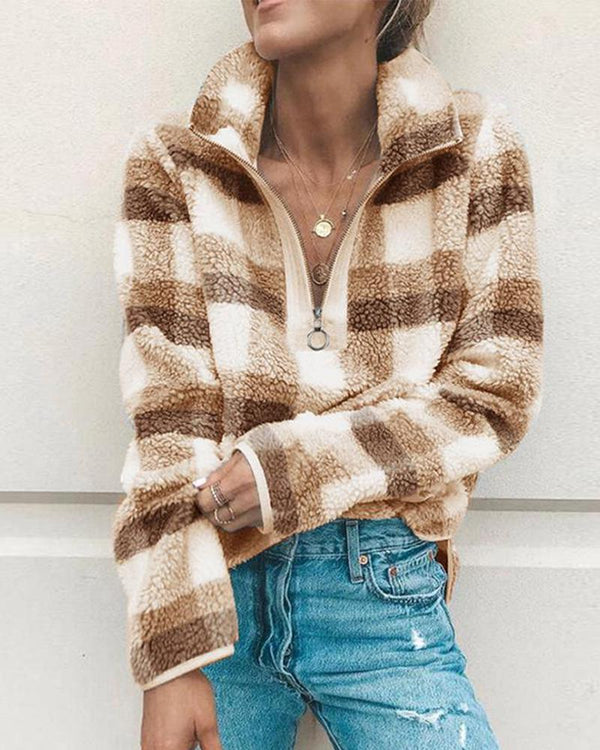 Casual Wild Bottom Plaid Top