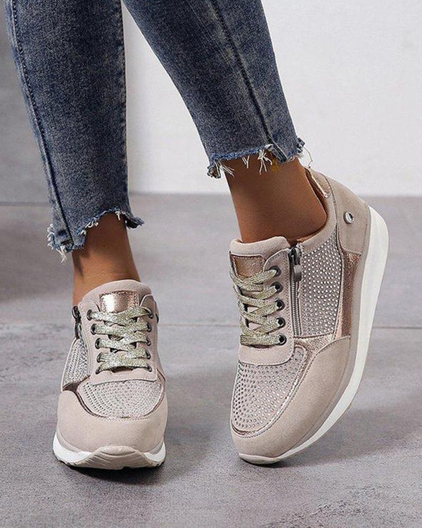 Zipper Lace-Up Sneakers