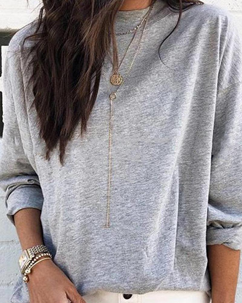 Round Neck Long Sleeve Casual Top