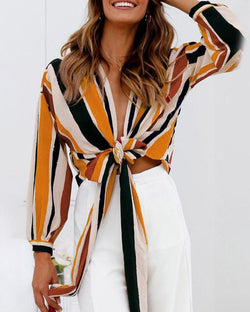 Contrast Stripes Knot Front Crop Top