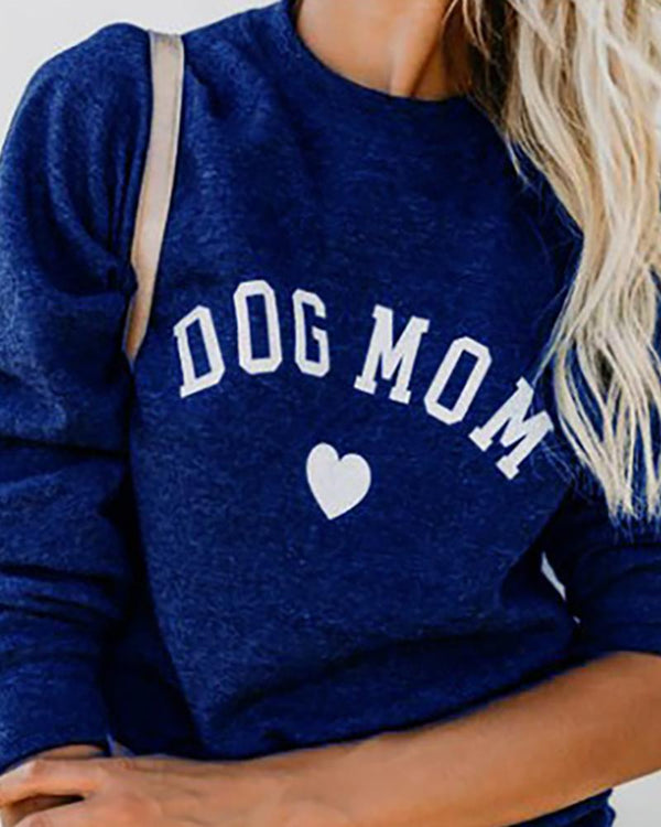 Letter Heart Print Round Neck Casual Sweatshirt