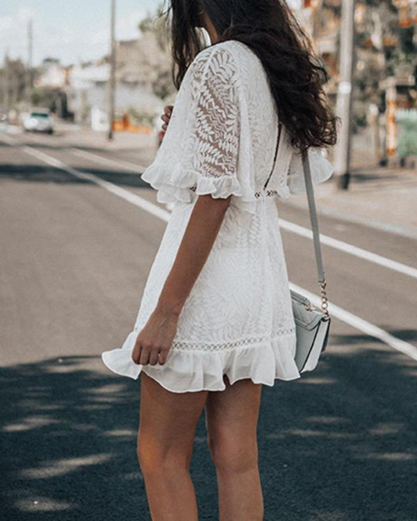 V Neck Lace Mini Dress