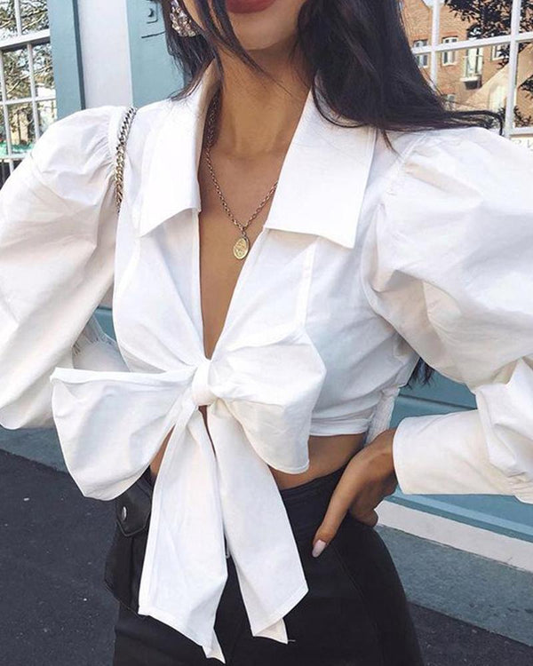 V Neck Cropped Bow Tie Front Top