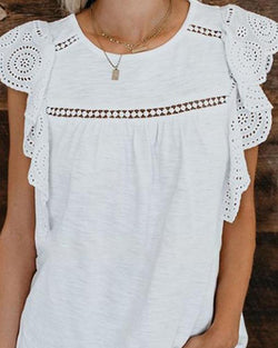 Lace-paneled solid color short-sleeved top