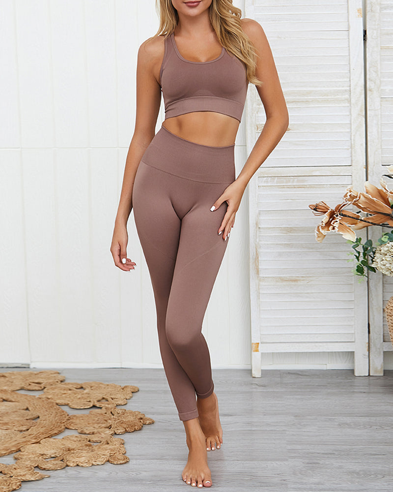 Fitness Yoga Crop Top and High Waisted Legging Set