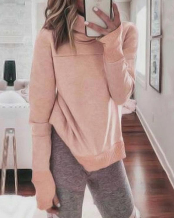 Long Sleeve Heap Neck Side Slit Sweatshirt