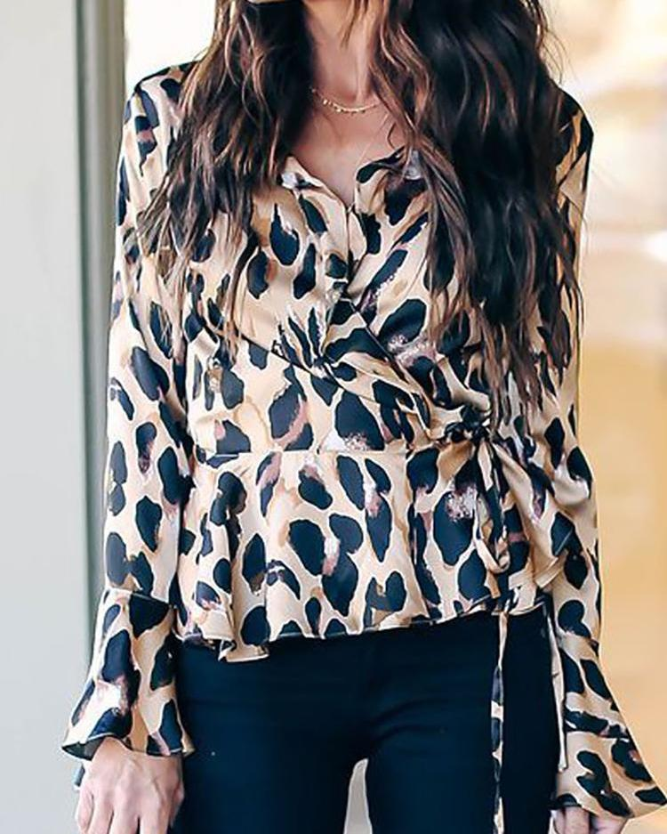 Leopard Print Bell Sleeve Wrap Blouse