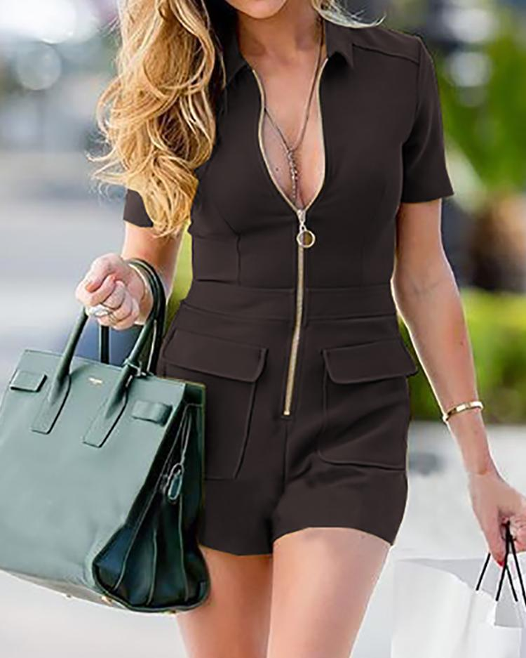 Solid Zipper Up Pocket Casual Playsuit