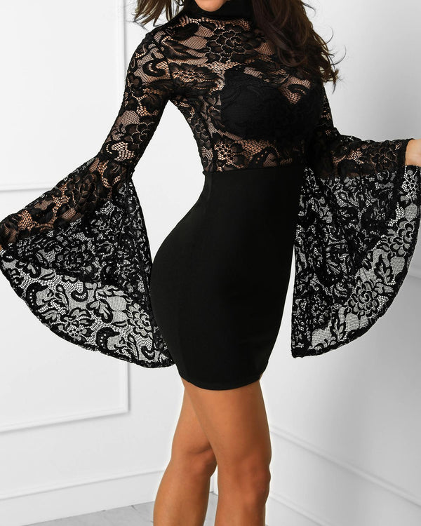Lace Crochet Flared Sleeve Bodycon Dress