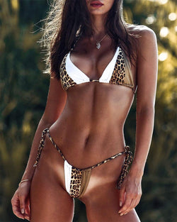 Contrast Leopard Triangle Two-Piece Bikini