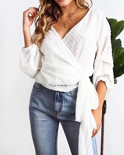 Solid Dot Puffed Sleeve Tied Front Blouse