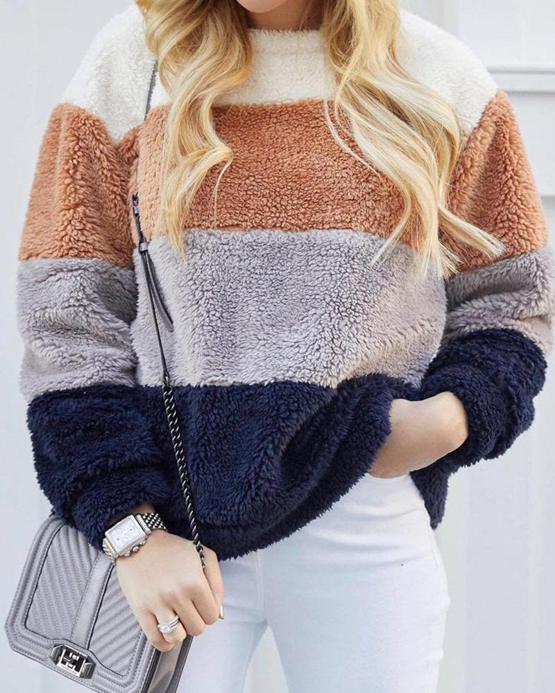 Colorblocks Long Sleeve Faux Fur Sweater