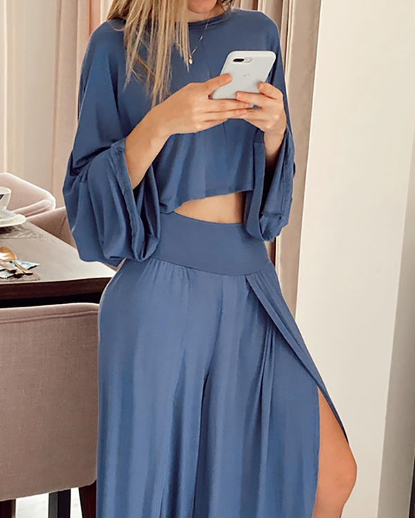 Bell Sleeve Crop Top & Slit Ruffles Pants