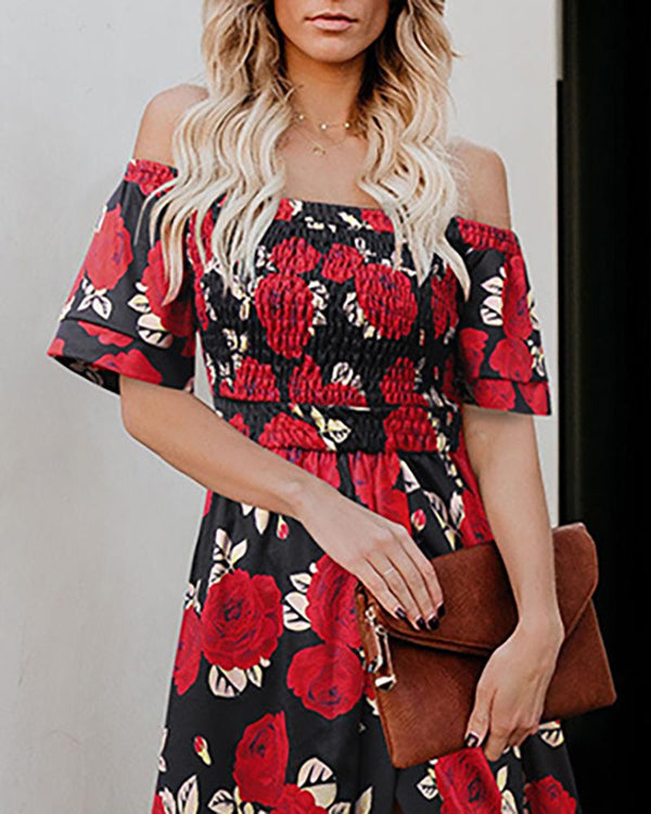 Off Shoulder High Waist Split Floral Dress