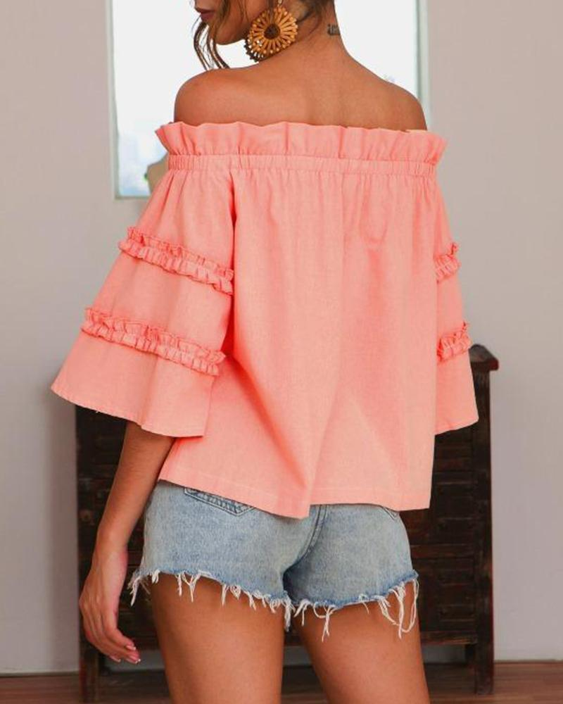 Off Shoulder Ruffle Sleeve Blouse