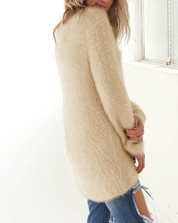 Faux Fleece Straight Fit Sweater
