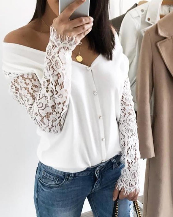 Eyelash Lace Sleeve Off Shoulder Blouse