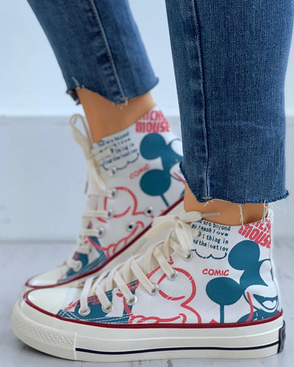 Cartoon Print Lace-Up Casual Sneakers
