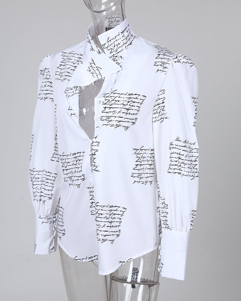 Stand Neck Letter Print Buttoned Shirt