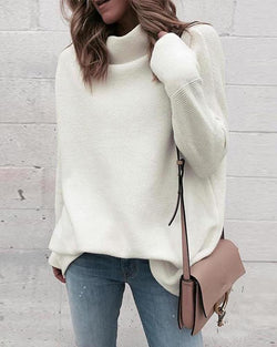 Solid High Neck Knit Sweater