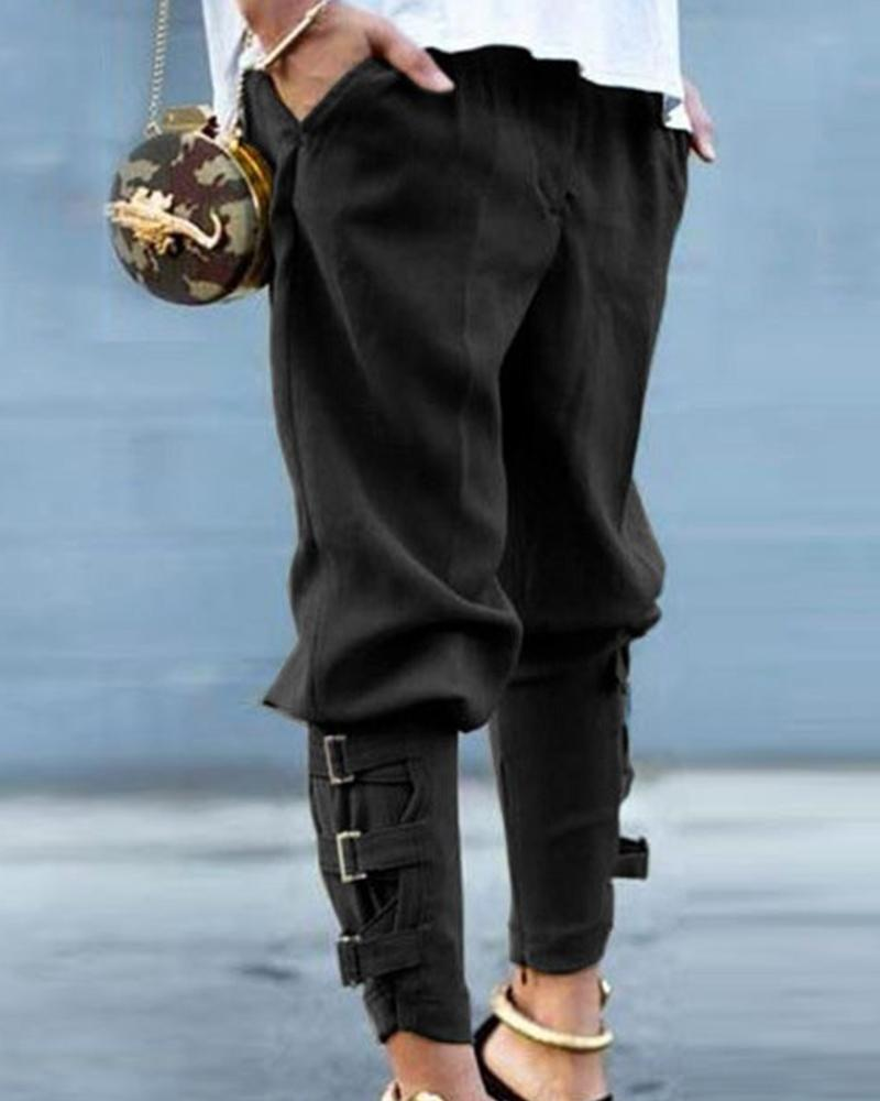 Buckle Strap Straight Leg Pants