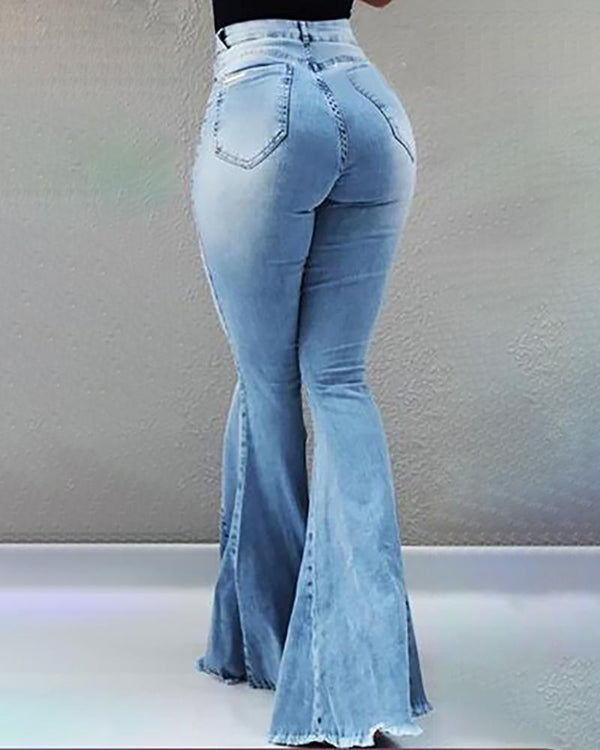 High Waist Pocket Bell-Bottom Jeans