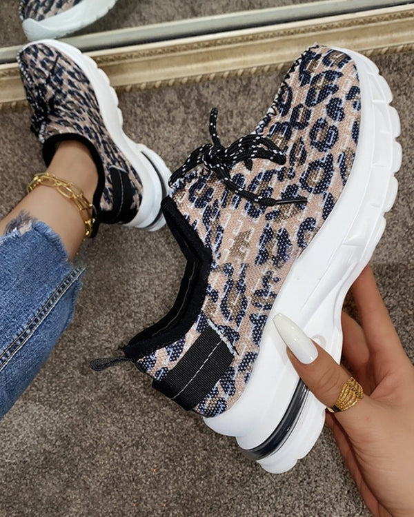 Round-toe Leopard Print Lace-up Sneakers