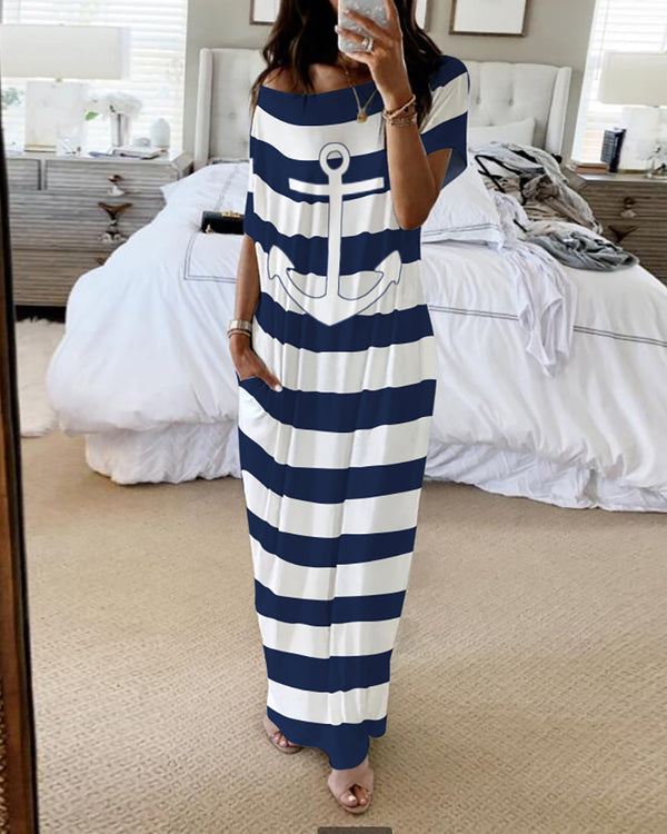 Boat Anchor Striped Print Casual Dress