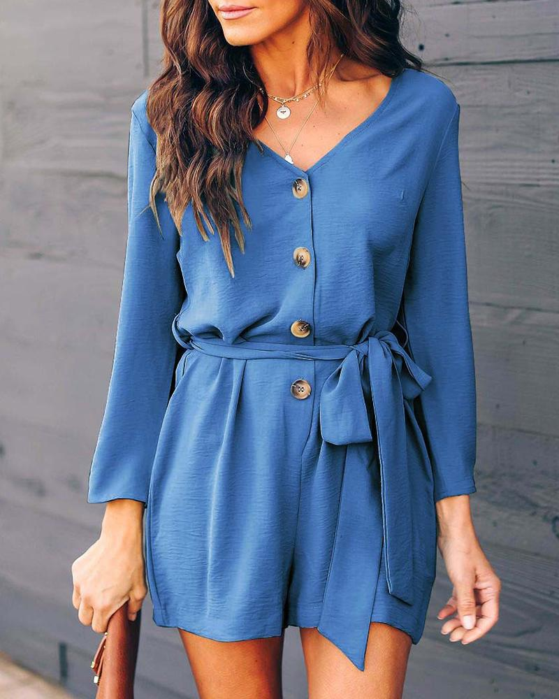 V Neck Long Sleeve Solid Lace Up Romper (With Belt)