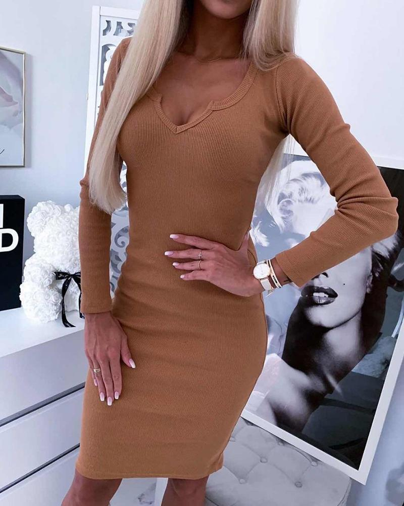 V Neck Knitted Bodycon Dress