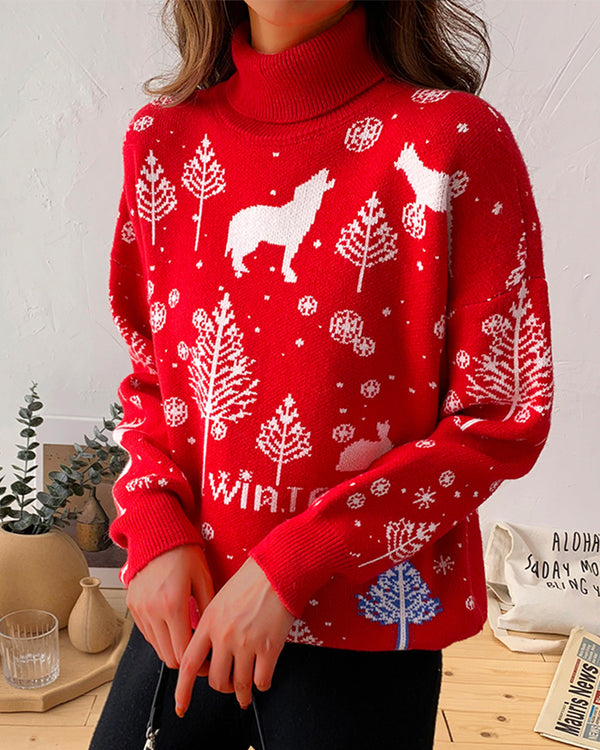 Christmas Print High Neck Casual Sweater