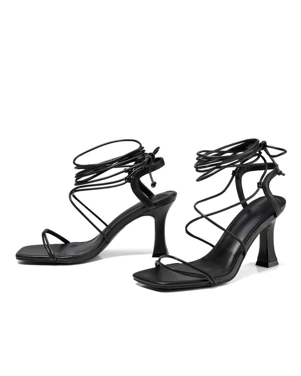 Strappy Solid High Heel Open-toe Sandals