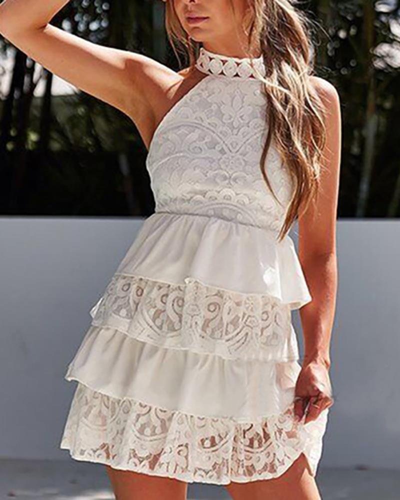 Hollow Out Detail Layered Ruffles Lace Dress