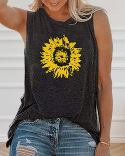 Sunflower Print Sleeveless Casual T-shirt