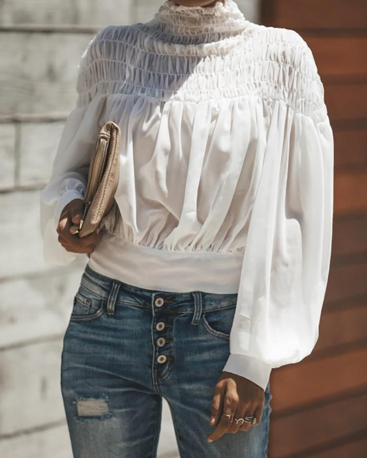 Lantern Sleeve Shirring Ruched Casual Top