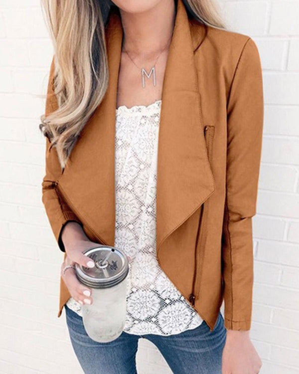 Solid Draped Front Zipper Jacket