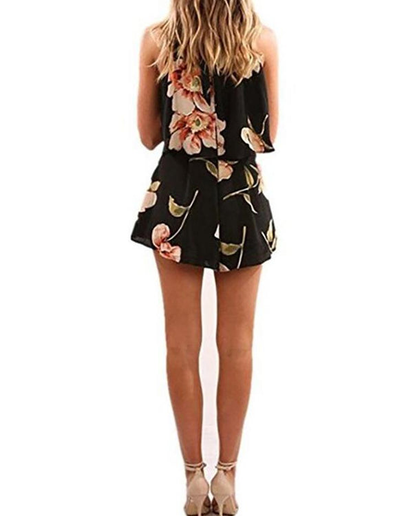 Floral Halter Pleated Top & Shorts Sets