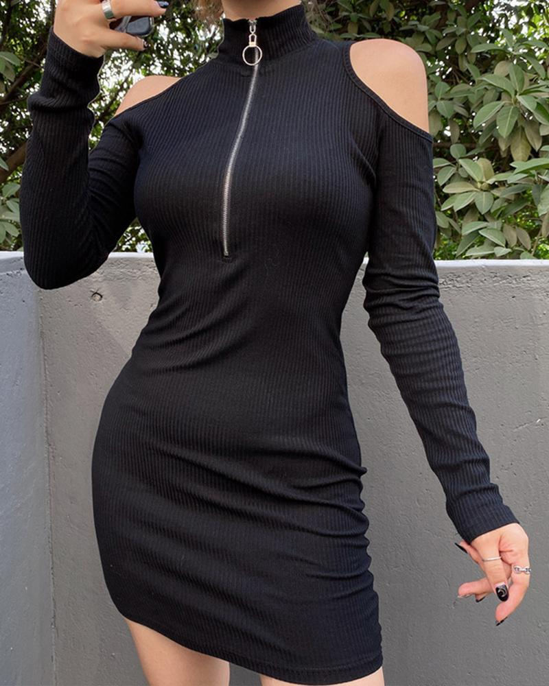 Cold Shoulder Zip Front Bodycon Dress