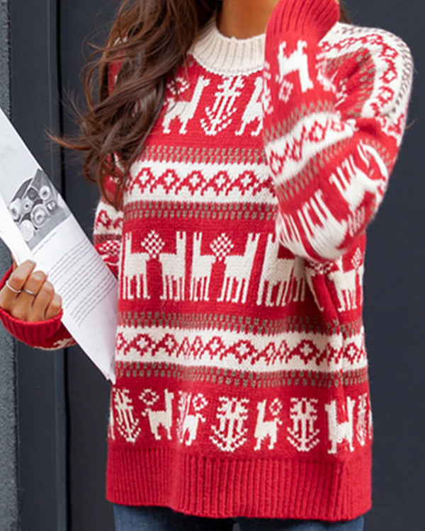 Christmas Print Long Sleeve Casual Sweater