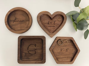 Catch All Tray- Engraved Wooden Valet Tray, Custom Jewelry Ring Dish, Wood Anniversary Gift, Christmas Birthday Gift
