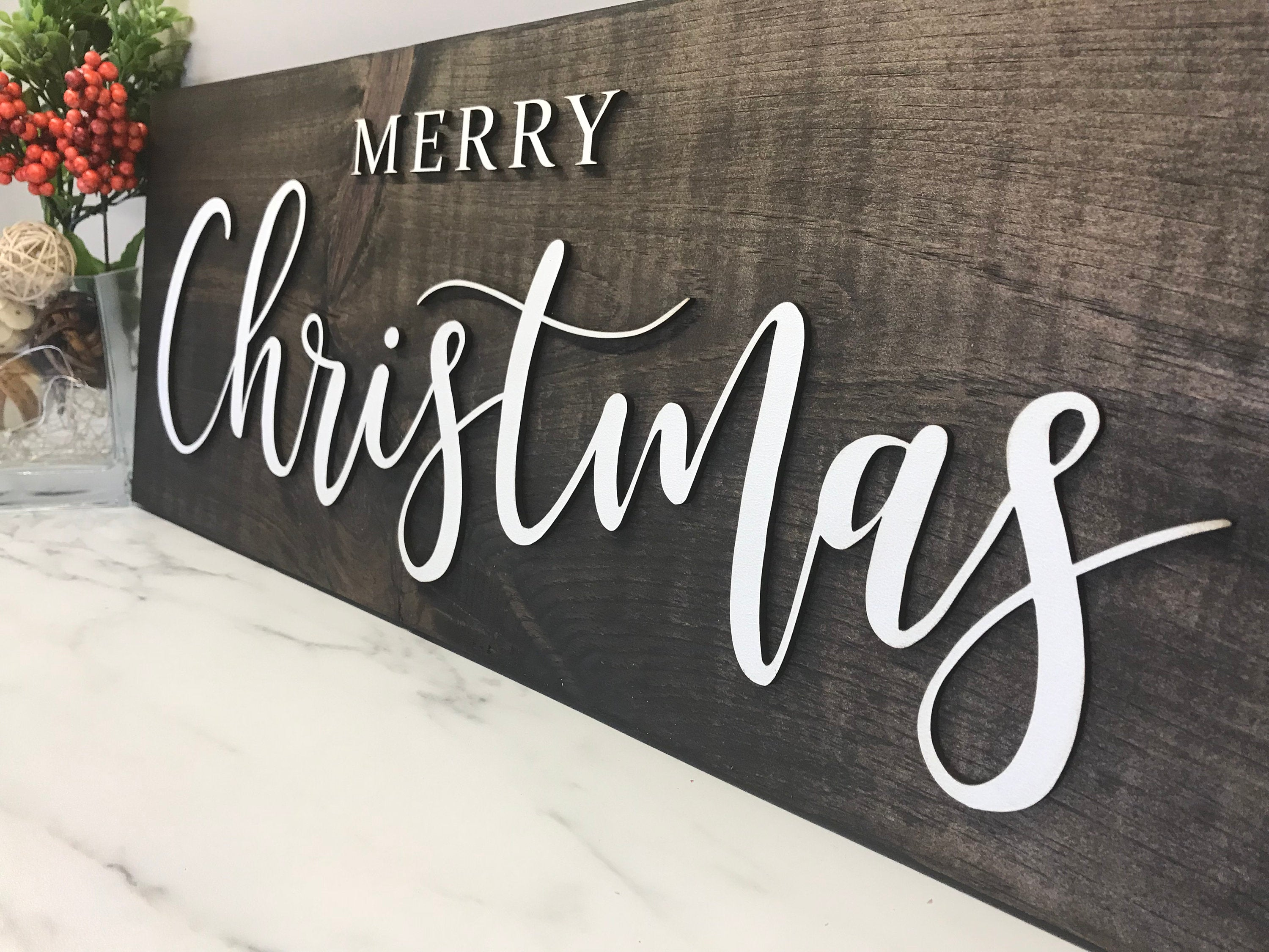 Merry Christmas Sign Rustic Wood Sign 3D Laser Cut Pine Wood Christmas Decor Home Decor
