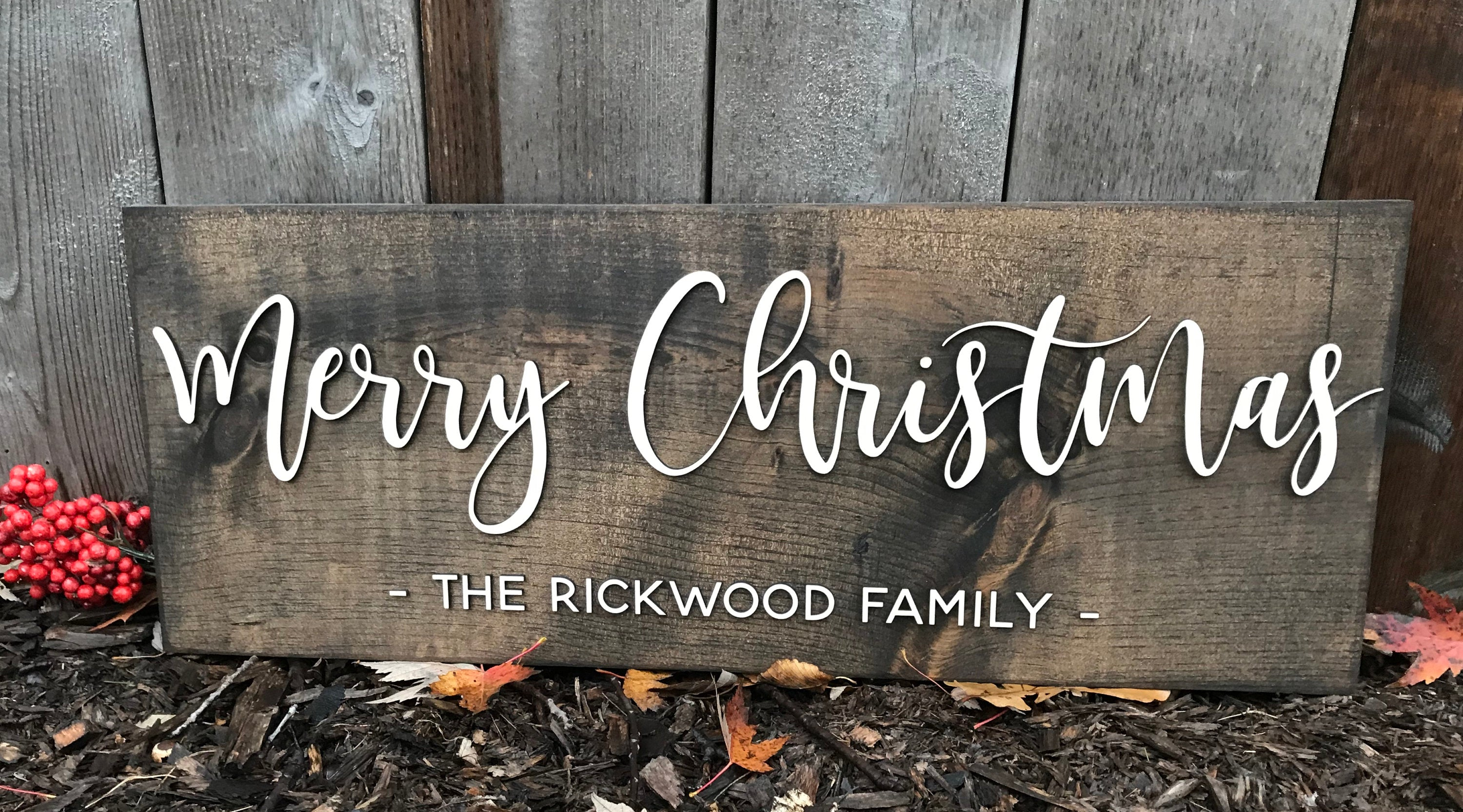Merry Christmas Sign Rustic Wood Sign Family Name Sign Personalized 3D Laser Cut Pine Wood Christmas Decor