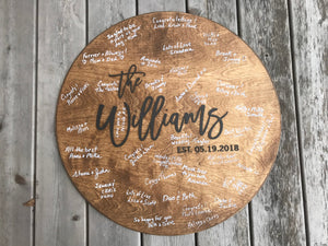 Round Wooden Wedding Guestbook