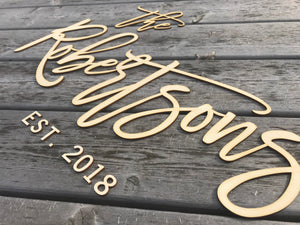 Family Name Wood Cutout