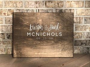 Rectangular Wooden Wedding Guestbook