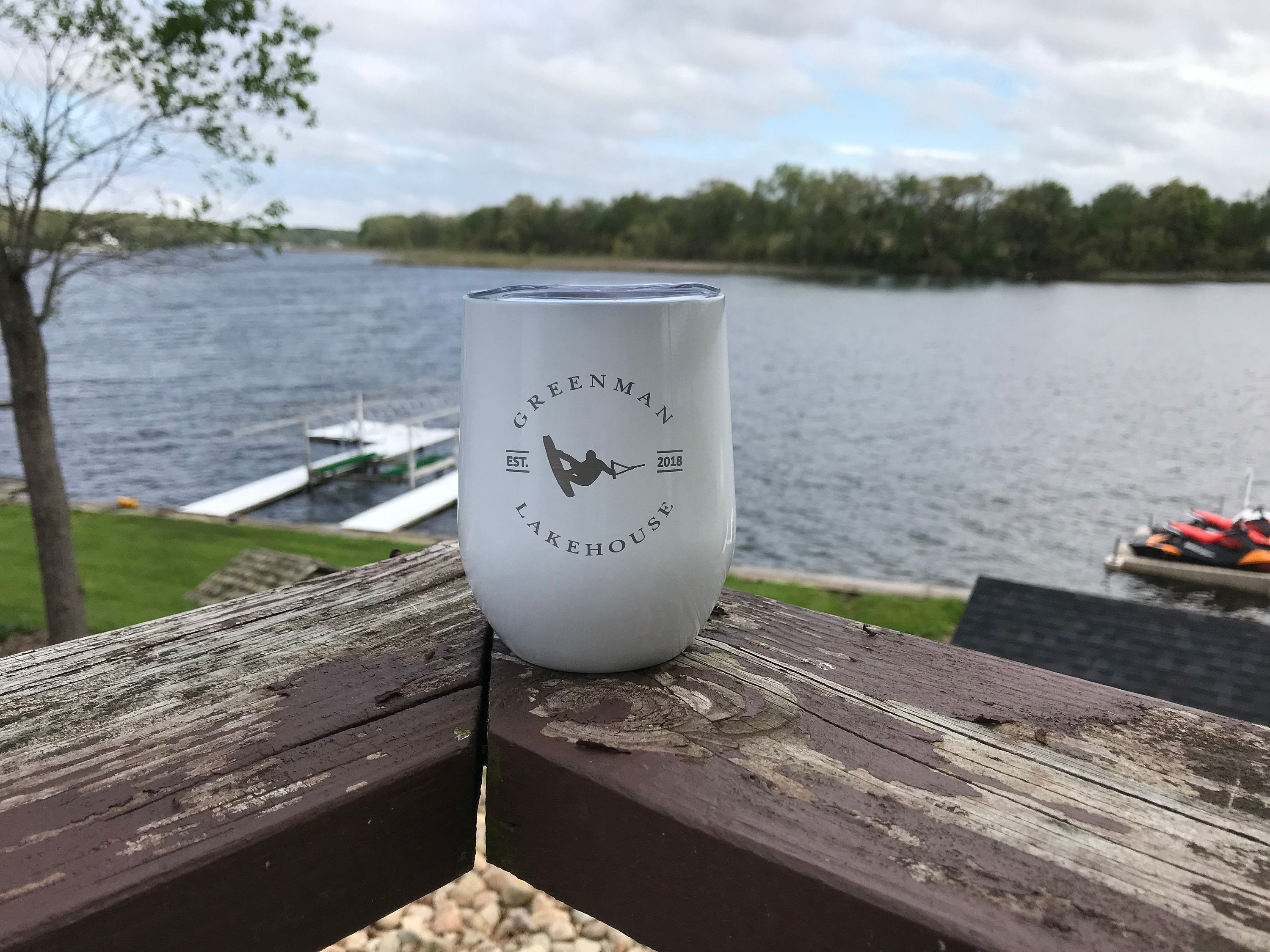 Personalized Lake House Stemless Wine Tumblers