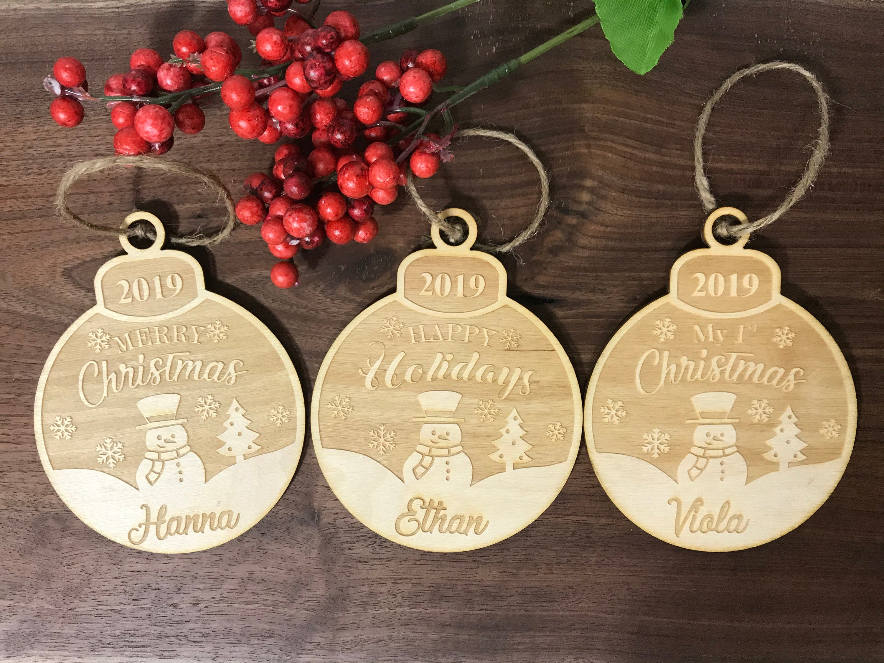 Laser Cut Personalized Wood Ornament First Name Ornament First Christmas Ornament Engraved Birch Wood